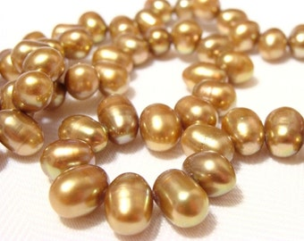 Antique Brass Freshwater Cultured Pearls, Rice - 15 inch strand