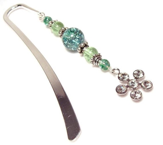 Crackle Glass Blue Green Yellow Crystal Bookmark Accessory with Snowflake Flower
