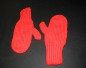 Valentine Red Mittens with Ribbed Cuffs