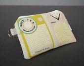 Zippered Pouch / Card Case / Change Purse / Business Card Holder - Transistor Radio Pink