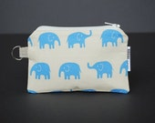 Zippered Pouch / Card Case / Change Purse / Business Card Holder - Elephant Blue