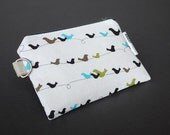 Zippered Pouch / Card Case / Change Purse / Business Card Holder - Birds on a Wire