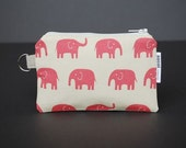 Zippered Pouch / Card Case / Change Purse / Business Card Holder - Elephant Pink