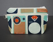 Zippered Pouch Large / Wristlet Case / Change Purse / Small Bag / Cosmetic Case / Pouch - Transistor Radio Navy
