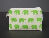 Zippered Pouch / Card Case / Change Purse / Business Card Holder - Elephant Green