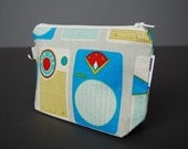 Zippered Pouch Large / Wristlet Case / Change Purse / Small Bag / Cosmetic Case / Pouch - Transistor Radio Blue