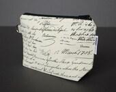 Zippered Pouch Large / Wristlet Case / Change Purse / Small Bag / Cosmetic Case / Pouch - Vintage Script