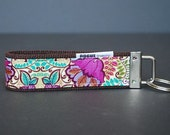 Fabric Key fob / Wrist Lanyard / Key Chain / Key Holder - Hippie Trip - ONLY 1 LEFT