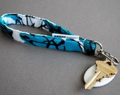 Wrist Lanyard / Key Chain / Key Fob / Key Holder - Aqua Scribble
