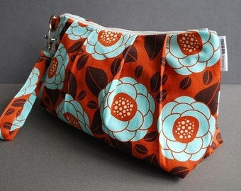 Clutch Bag / Wristlet Bag / Small Purse / Evening Bag / Girls Night Out  - Vintage Flower Orange