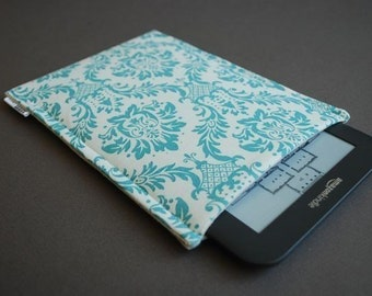 Kindle Oasis Case / Kindle Touch Cover /  Kindle Paperwhite Cover / Nook HD Plus Case -  Damask Aqua