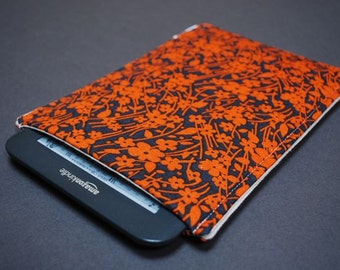 Nook Glowlight Plus Case / Nook Glowlight Plus Sleeve / Nook Glowlight Plus Cover - Flowering Orange Dark Gray