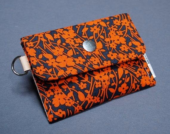 Change Purse / Business Card Case / Card Holder / Snapped Pocket - POKE - Flowering Orange Dark Gray