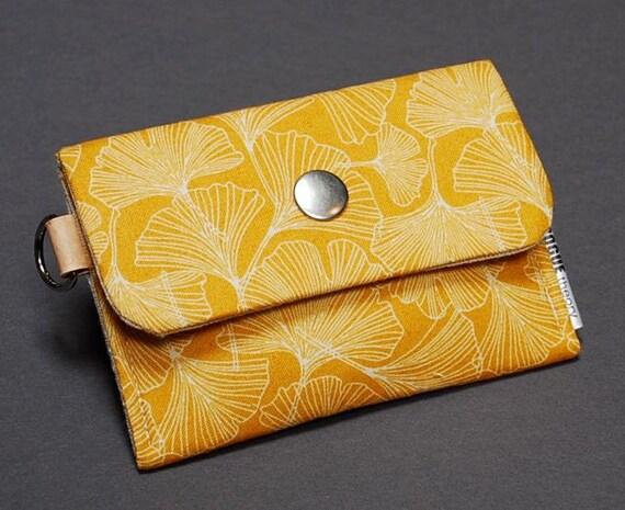 Change Purse / Business Card Case / Card Holder / Snapped Pocket - POKE - Gingko Yellow