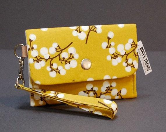 Wristlet / iPhone Case / Small Purse / Change Purse / Business Card Case / Card Holder - POKE WRISTLET - Cotton Branch