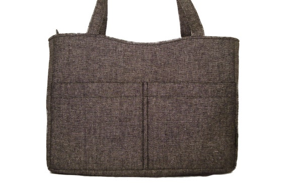 SALE: Tote Diaper Bag - Handmade Handbag in black and gray tweed with silver accent weave