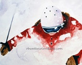 Ski print Watercolor 11x14 skier snow painting alpine ski painting snowboard painting gifts for him gifts for man