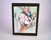 Happy Birthday Sugar Glider Hand Painted One of a Kind Watercolor Greeting Card