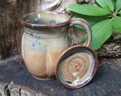 Tall Gourd Mug  with lid- saved for Kalani, brown sugar glaze, whopping  22 oz.
