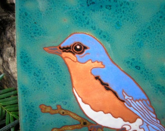 Bluebird tile-CUSTOM ORDER -allow 4-6 wks production time-- with fine detail in the arts and crafts style
