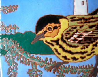 Cape May Warbler tile-CUSTOM ORDER -allow 4-6 wks production time- from the New Jersey shoreline,the birders mecca
