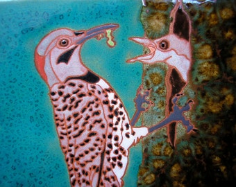 Flicker Feeding-CUSTOM ORDER -allow 4-6 wks production time-  tile in the arts and crafts style perfect for any birdlover