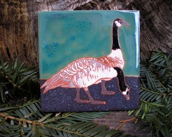 Canada Geese Bird tile-CUSTOM ORDER -allow 4-6 wks production - Arts and Crafts, birders, kitchen, bath, fireplace surround