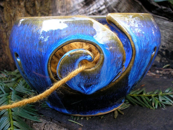 Yarn Bowl  glazed in Blue Lagoon