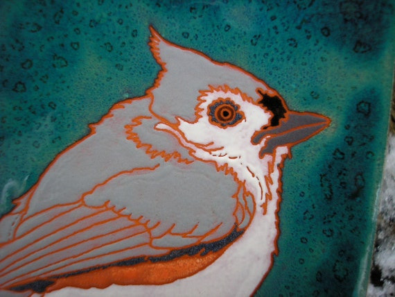 Tufted Titmouse bird tile in the Arts and Crafts style, great for kitchen, bath, fireplace surround, or framed