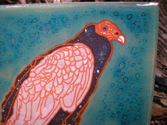 Turkey Vulture tile, natures essential custodian, great detail,  birders, kitchen, bath,fireplace surround or framed