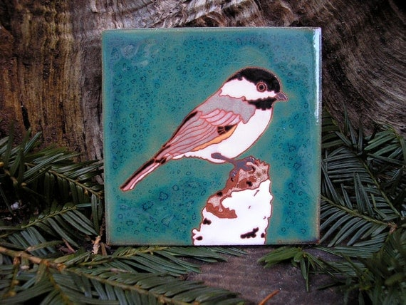 Chickadee  on Birch Arts and Crafts Style Tile, handcrafted