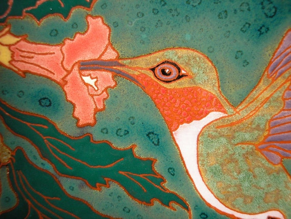Ruby-throated Hummingbird tile, arts and crafts style, amazing detail , great gift for birders