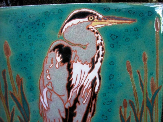 SAVED for Elizabeth Great Blue Heron tile with rich detail in the arts and crafts style, great for bird lovers