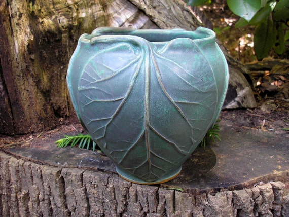 Rhubarb Vase in verdigris  glaze Arts and Crafts style, mission style, handmade pottery, functional