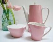 Harmony House Pink Coffee Set Coffee Pot, Sugar & Creamer Bright Spring Decor