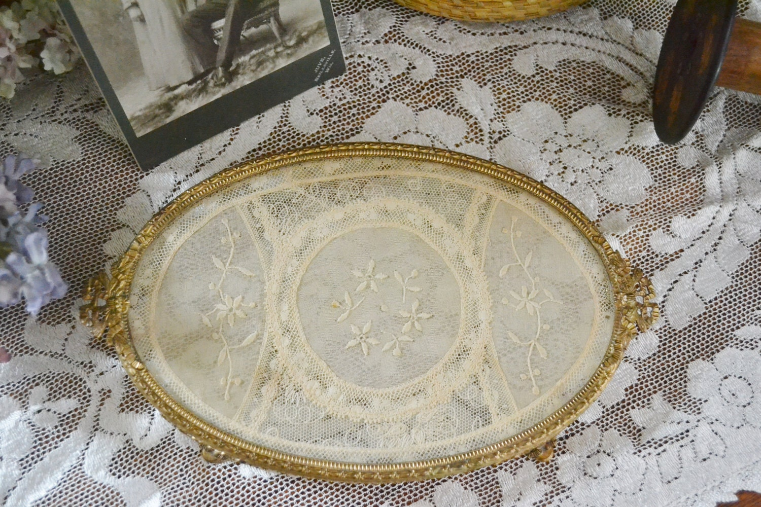 Vintage Dresser Vanity Tray With Lace Insert