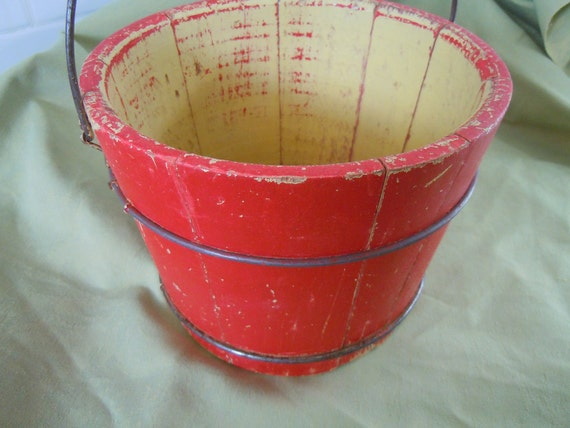 WOODEN PAIL BUCKET with Wire Bail Handle Red Paint Vintage Country Cottage Home Style Shabby Chic Patina