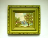 Vintage Boat House Painting In Upcycled Green Frame