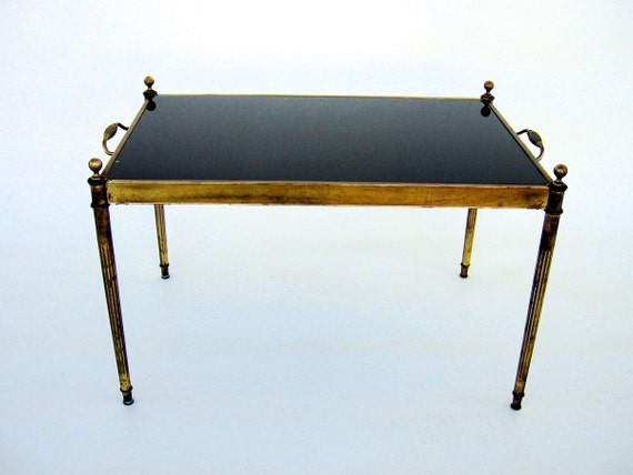 Vintage Brass Coffee Table With Black Glass Top