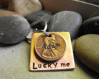 Lucky Us Copper Keychain with 3 lucky pennies     The squared version