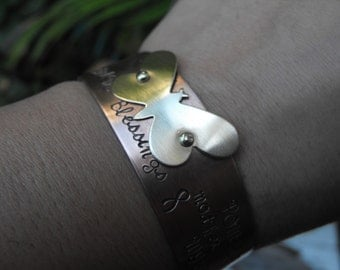 Blessings Bracelet, Butterfly cuff, Cancer Awareness, Inspirational gift, Fuck Cancer,   Ready to ship SALE