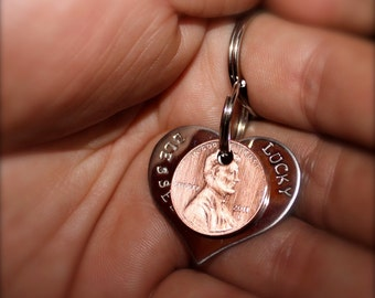 New Heart shaped Blessed,  Lucky Us Keychain made of stainless steel with  3 pennies