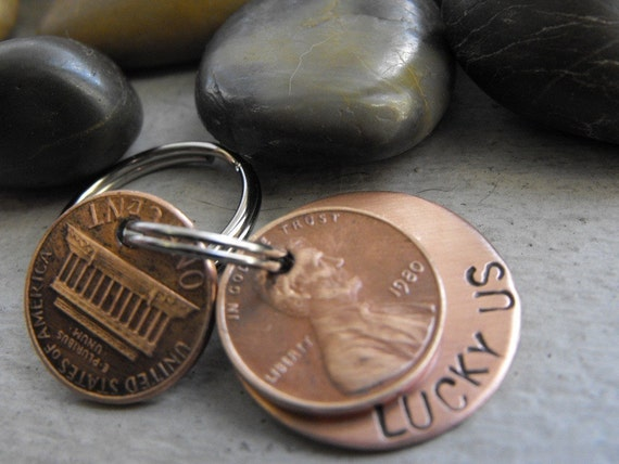 Lucky Us Copper Keychain with two lucky pennies