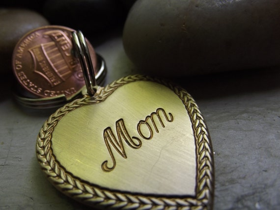 Mom Keychain with two pennies