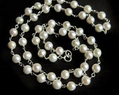 Classic Sterling Silver Wire Wrapped White Freshwater Pearl Necklace