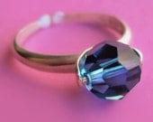 Adjustable Sky Blue Swarovski Crystal Ball and Sterling Silver Ring