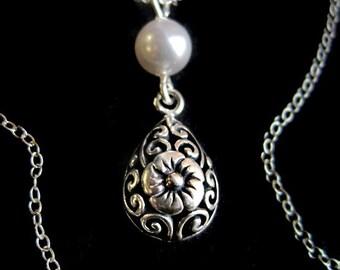 Floral Bali Sterling Silver Teardrop and Swarovski Pearl Necklace