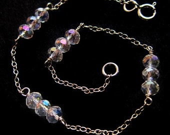 Dainty Sterling Silver and Crystal Bracelet