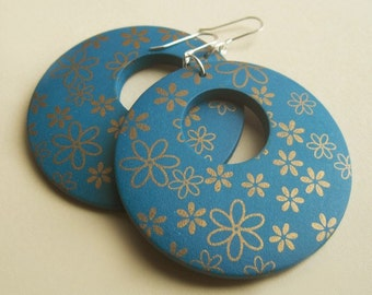Sterling Silver and Gold Floral Teal Wood Hoop Earrings
