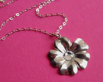 Sterling Silver Flower Necklace with Swarovski Crystal Center